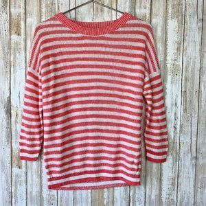J Crew Heather Striped Pink Coral White Sweater S